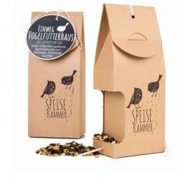 Vogelfutterhaus mit Spenderfunktion aus Naturpappe